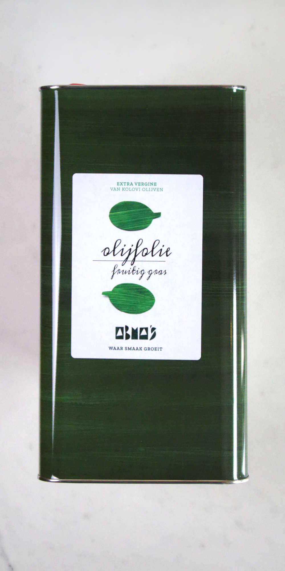 5L blik Abma's fruitig gras olijfolie.