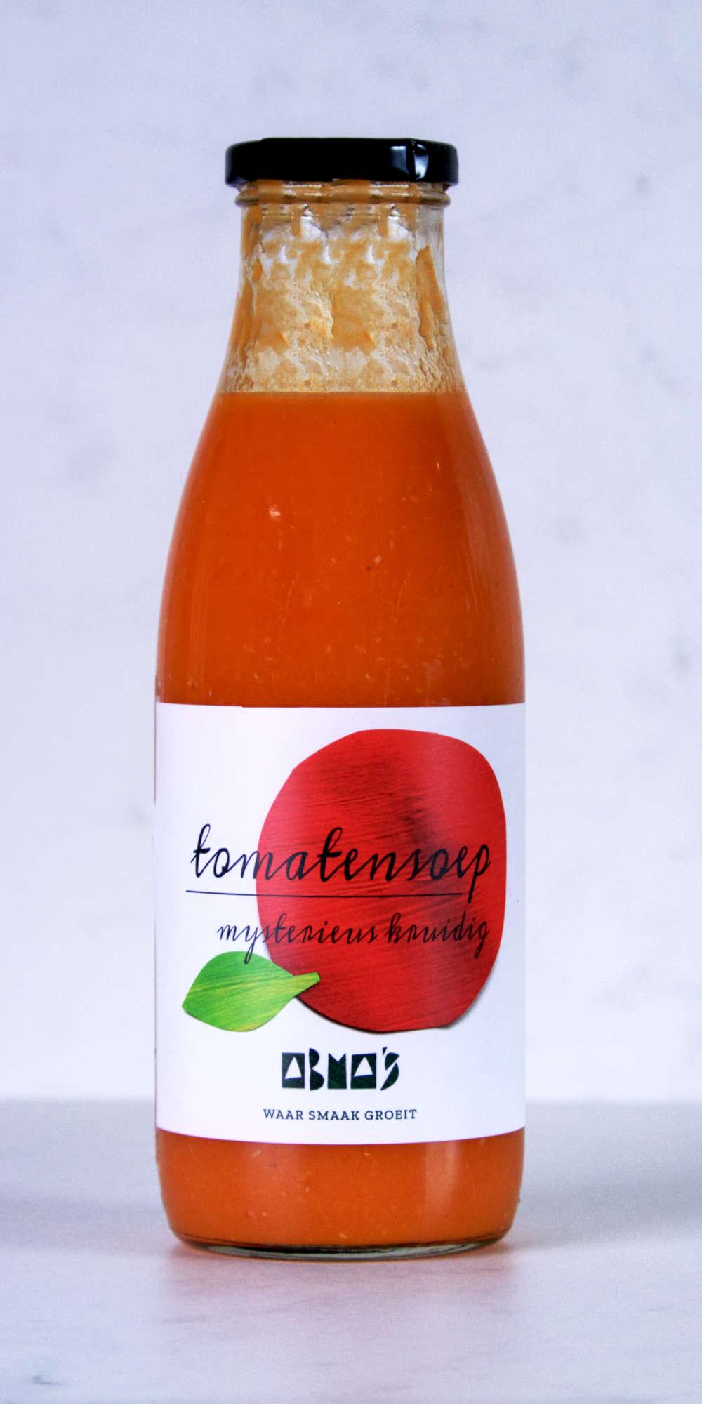 Fles Abma's tomatensoep.